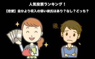 【恋愛】自分より収入の低い彼氏はあり?なし?どっち?人気投票!
