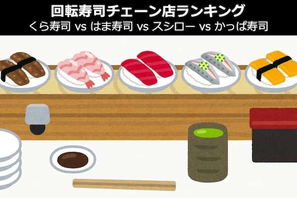 【回転寿司チェーン店ランキング】「くら寿司 vs はま寿司 vs スシロー vs かっぱ寿司」人気投票中!